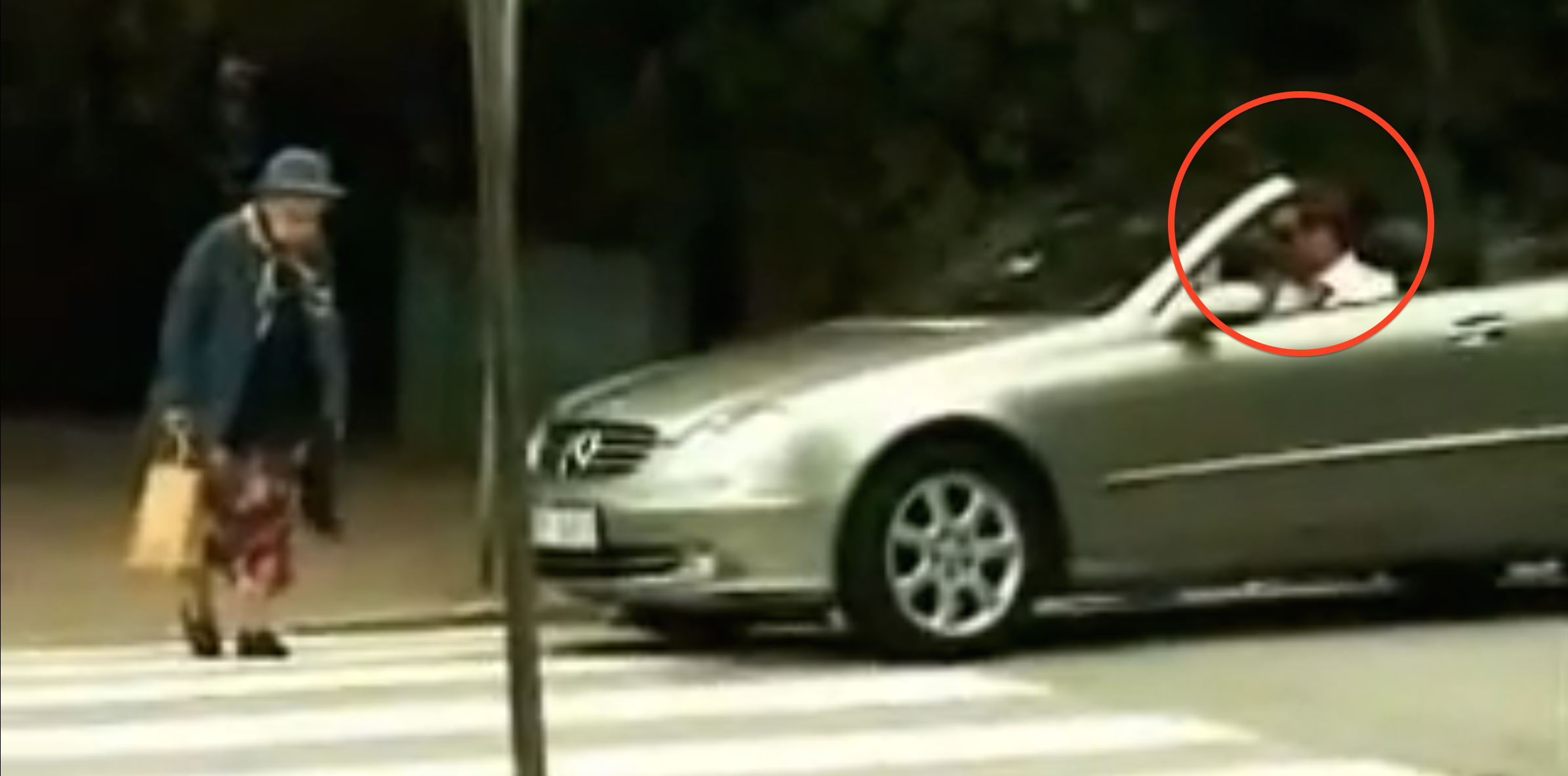 This Man Honks His Horn To Speed Up An Old Lady Crossing The Street.  What Happens Next Is Priceless.