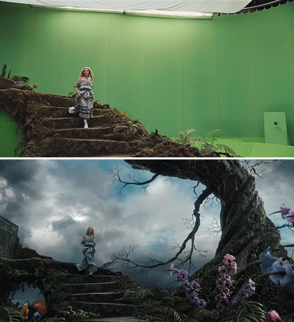 Alice In Wonderland movie greenscreen