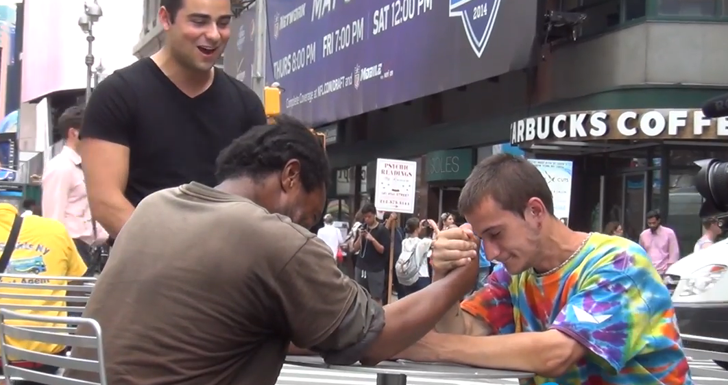 Homeless Man Arm Wrestles For $100, Then Does Something You Would Never Expect
